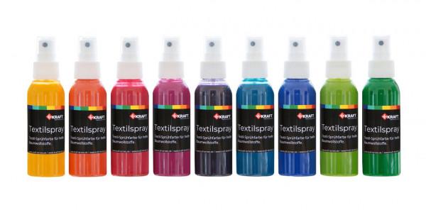 Textil Spray, je 100ml, 9 Farben Set